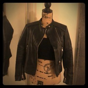 Black Faux Leather Jacket (Black) - Small